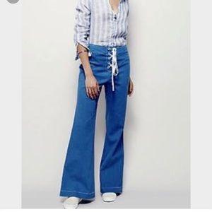 NWOT Free People Coral Black Turquoise Pants 4